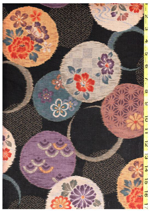 Japanese - Kobayashi Floating Floral Circles - Black