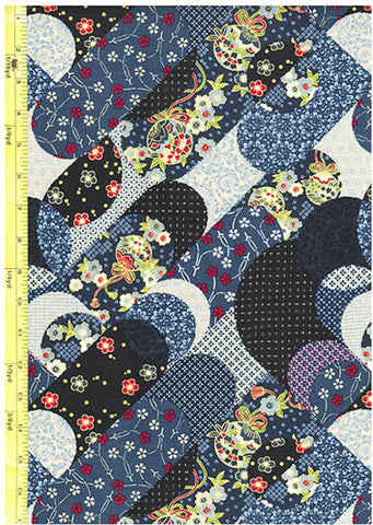 Japanese  - Diagonal Floral Ribbons - Black