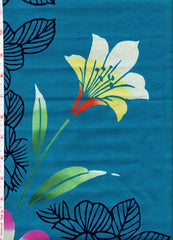 Yukata Fabric - 071 - White and Yellow Flower - Blue