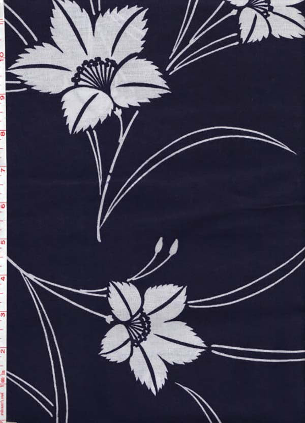 Yukata Fabric - 075 - Jagged Leaf Flowers with Skinny Stems
