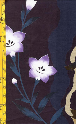 Yukata Fabric - 027 - Lavender Flowers on Purple.