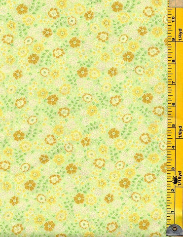 *Floral Fabric - Garden Delights - Tiny Floral Blossoms - Dark Gold & Golden Yellow -  #2GSF2 - Green