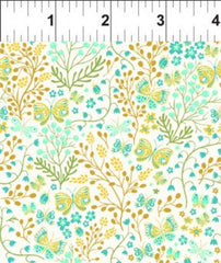 Floral Fabric - In the Beginning Garden Delights - Tiny Butterflies, Floating Blossoms & Golden Branches -  # 3GSF2- Cream - ON SALE