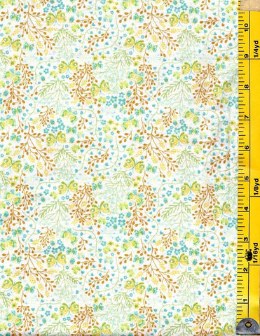 *Floral Fabric - Garden Delights II - Tiny Gold & Green Butterflies & Teal Floating Blossoms # 3GSF2- Cream