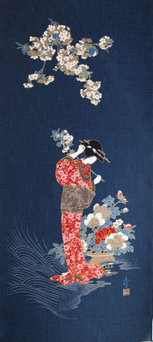 Noren Panel -  Geisha & Cherry Blossoms # 112