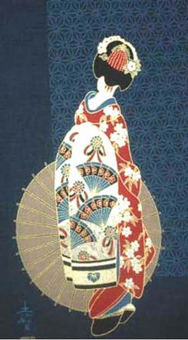 Noren Panel -  Geisha with Umbrella # 49 - ON SALE