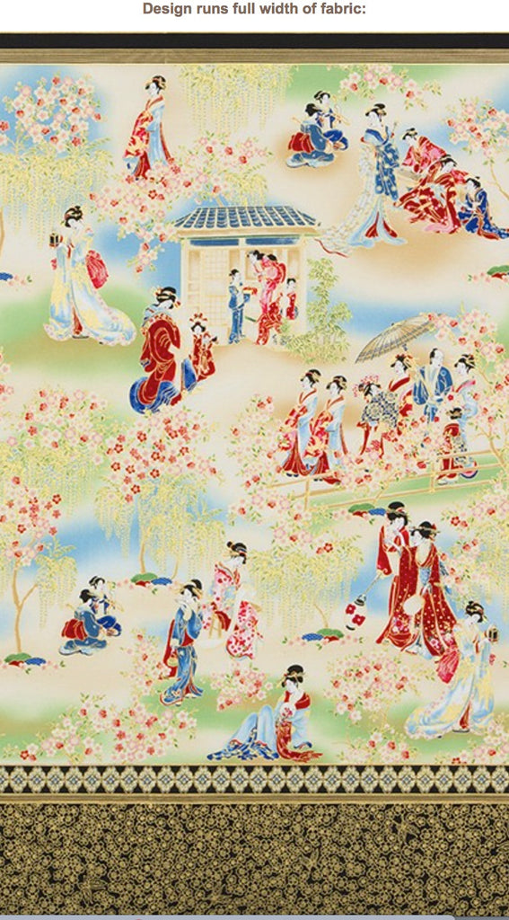 Asian - Imperial 15 - Geisha Gathering - Red & Blee- PANEL