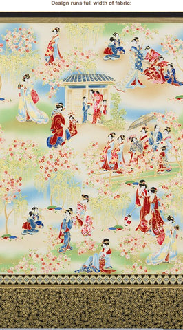 Asian - Imperial 15 - Geisha Gathering - Red & Blue- PANEL