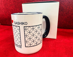 *Gifts - Sashiko 12 oz. - I Love Sashiko - Coffee Mug & Sashiko Sampler Kit