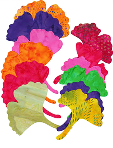 Fabric Fun Shapes - Ginkgo Leaves - Bright Batik