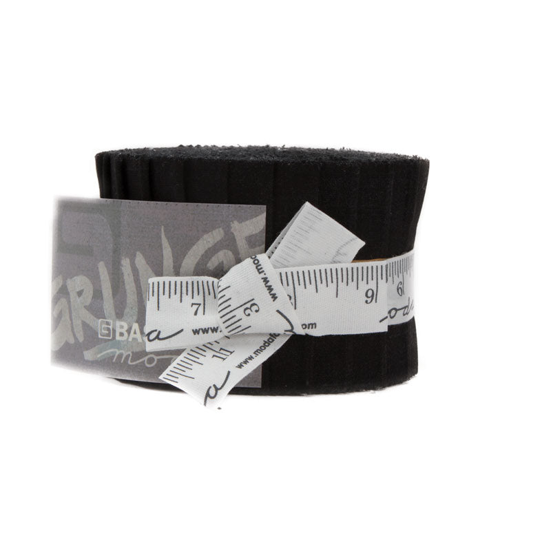 "Pre-Cut Strips - Moda GRUNGE Jr. Jelly Roll - 2 1/2"" Strip Roll-Up - 20 Strips - Onyx (Black)"