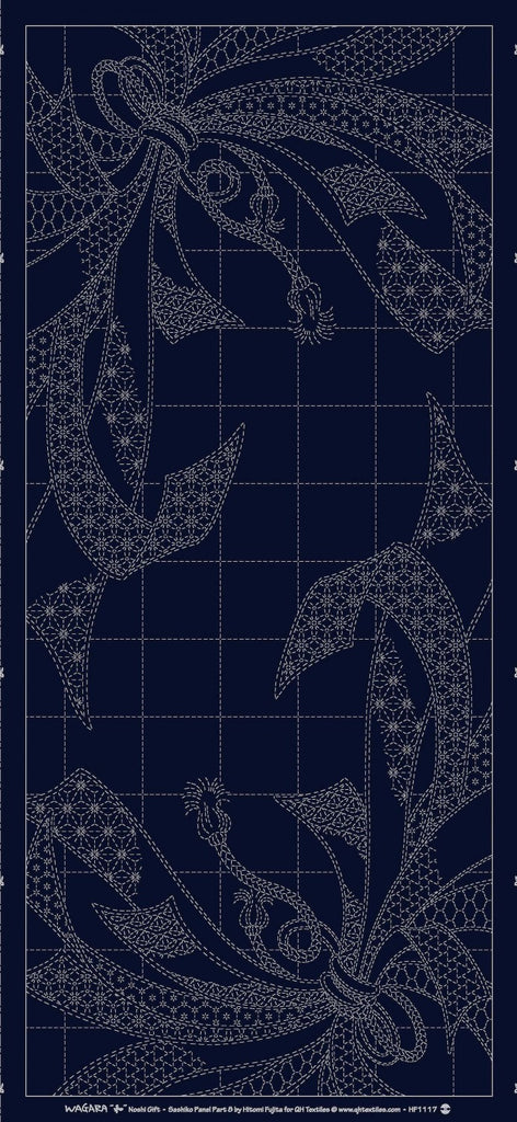 Sashiko Pre-printed Panel - Wagara Noshi Ribbons - Dark Navy