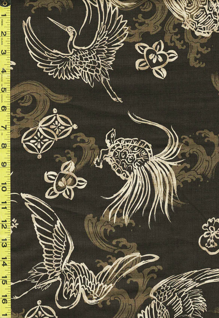*Japanese - Hokkoh Cranes, Tortoise & Waves - Dobby Weave - 321-1110-2B - Olive Brown
