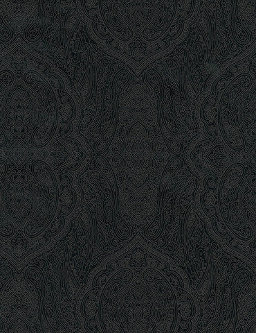 *Tonal Blender Fabric - Black on Black Ornate Paisley Medallions