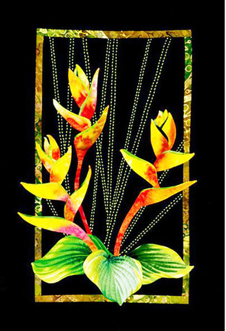 Sashiko Pattern -  Exotic Flowers - Heliconia Upright