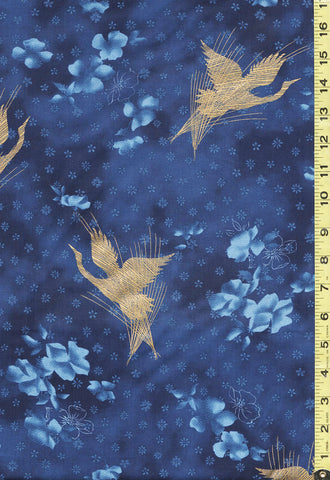 *Asian - Hoffman Zen Garden - Flying Cranes & Floating Blossoms - P7587 - Sapphire/Gold