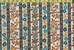 Asian - Hoffman Masami Stripe - Mums, Cherry Blossoms & Blue Birds - Gold & Teal