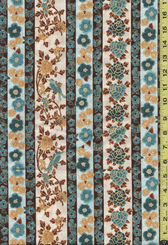 *Asian - Hoffman Masami Stripe - Mums, Cherry Blossoms & Blue Birds - Gold & Teal