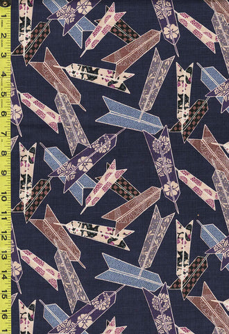 *Japanese - Hokkoh Arrows with Japanese Motifs - Dobby Weave - 311-1110-5C - Navy