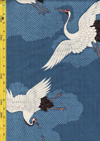 *Japanese - Hokkoh Dobby Weave - Cranes Flying - Blue