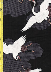 Japanese - Hokkoh Dobby Weave - Cranes Flying - Black