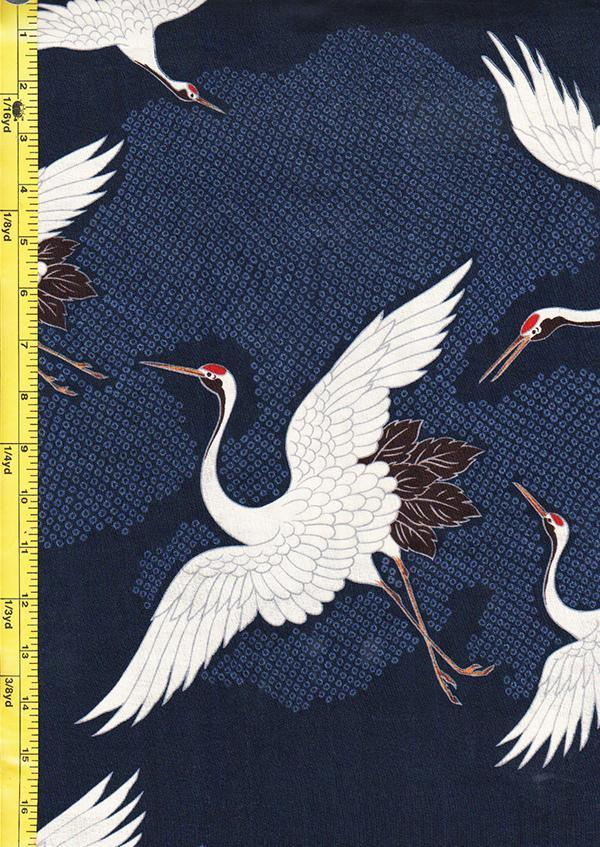 Japanese - Hokkoh Dobby Weave - Cranes Flying - Navy