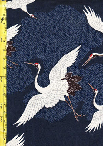 *Japanese - Hokkoh Dobby Weave - Cranes Flying - Navy