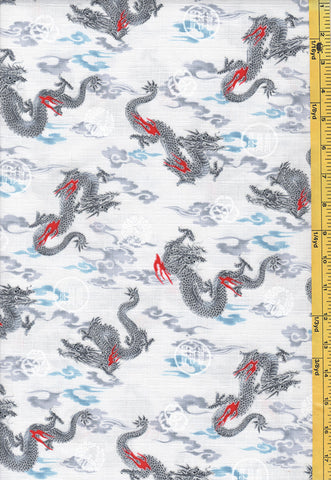 Japanese - Hokkoh - Dragons, Clouds & Crests - 301-115-4A - Ivory