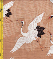 Japanese - Hokkoh - Cranes Flying - Cotton Gauze - Tan