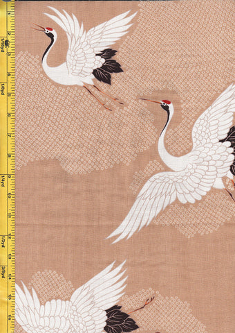 *Japanese - Hokkoh - Cranes Flying - Cotton Gauze - Tan