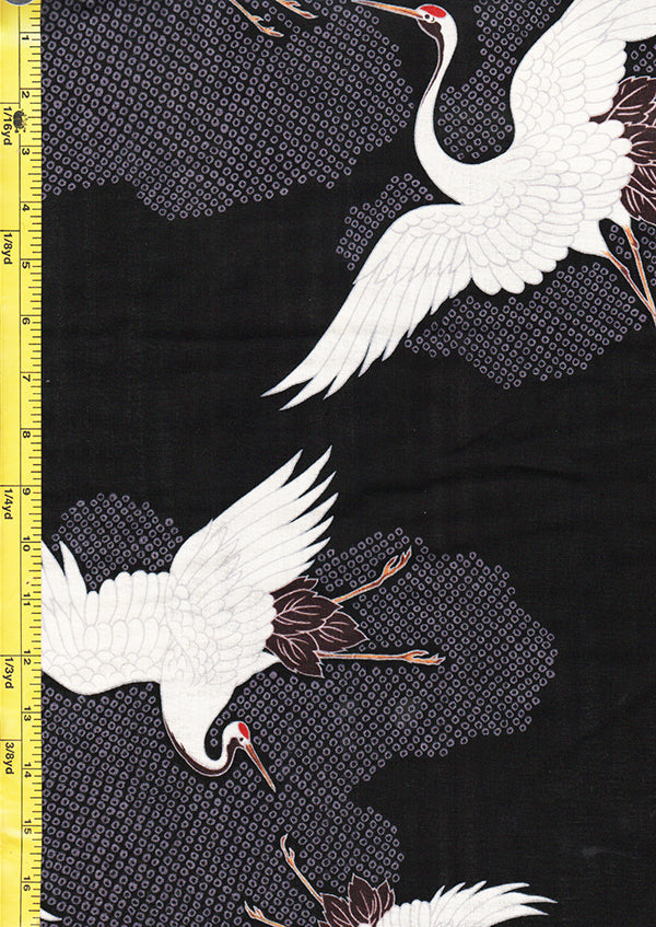 Japanese - Hokkoh - Cranes Flying - Cotton Gauze - Black