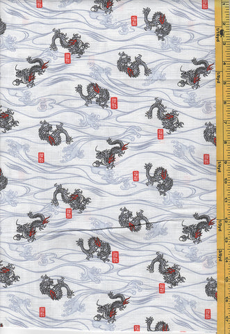 Japanese - Hokkoh - Dragons & Waves - 301-115-3A - Ivory