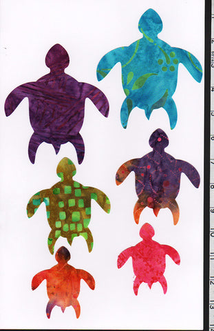 Fabric Fun Shapes - Honu Turtle Family - Batik