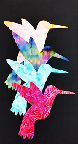 Fabric Fun Shapes - Colorful Hummingbirds - Bright Batiks