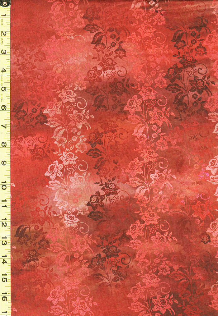 *Floral Fabric - In the Beginning - Diaphanous Enchanted Floral  Vines - 5ENC-1 SPICE - Copper, Rust & Salmon