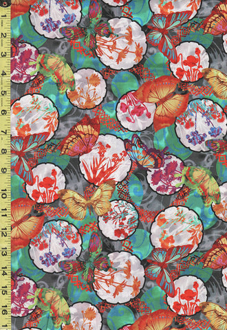 Floral Fabric - In the Beginning -  Dreamscapes Floral Circles & Butterflies - 3JYH-1 - Multi-Colors