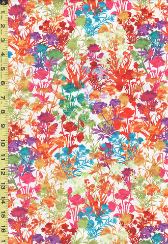 *Asian Fabric - In the Beginning - Dreamscapes Floral Garden - 4JYH-2 - Bright Multi-Colors