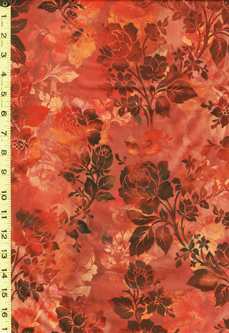 *Floral Fabric - In the Beginning - Diaphanous Roses - 1ENC-1 - Spice (Copper, Brown, Orange)