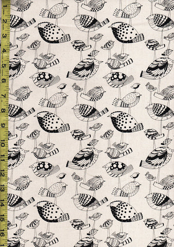 *Japanese - Kiwi Birds (Oxford Cloth) - Black on Tan
