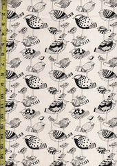 Japanese - Kiwi Birds (Oxford Cloth) - Black on Tan