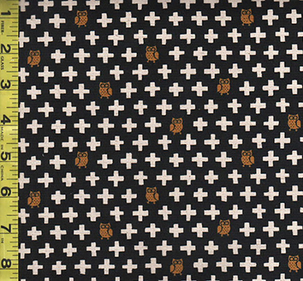 Japanese - Kokka -  Tiny Owls & Crosses - Cotton-Linen Canvas -Black