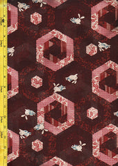 *Japanese Novelty - Bunnies & Hexagons - Brick Red & Rosey Pink