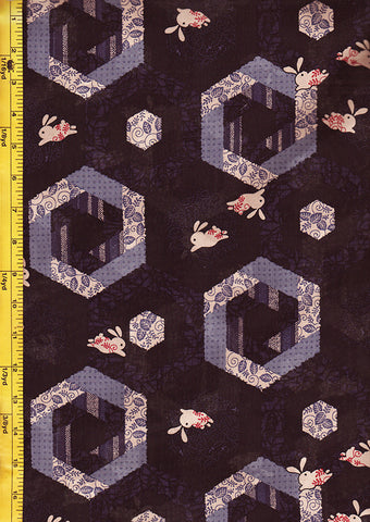 Japanese Novelty - Bunnies & Hexagons - Dark Purple