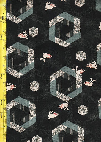 Japanese Novelty - Bunnies & Hexagons - Black