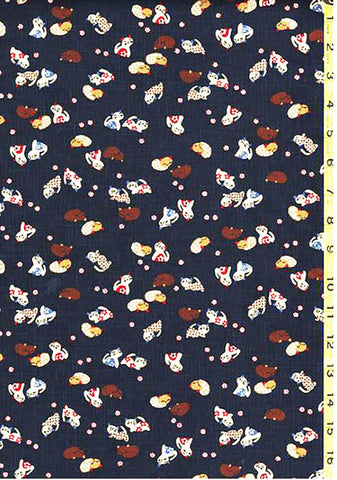 Japanese Novelty - Small Colorful Kittens - KW-3375-15A - Dark Navy/ Indigo