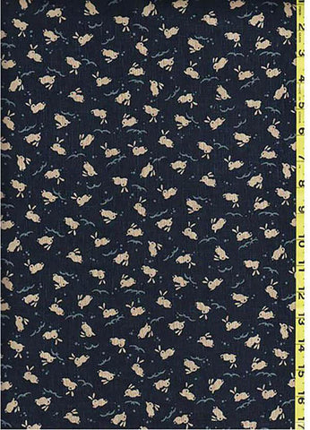 Japanese Novelty - Small Bunnies Leaping Over Waves- KW-3375-2A -Dark Navy/ Indigo