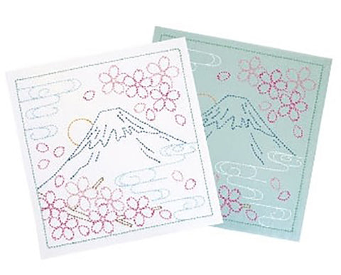 Sashiko Sampler Kit - # SK-292 Mt. Fuji - White & Turquoise Blue