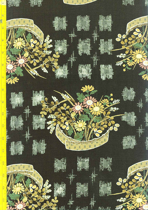 Japanese - Kobayashi Dobby Weave - Flower Baskets - Black