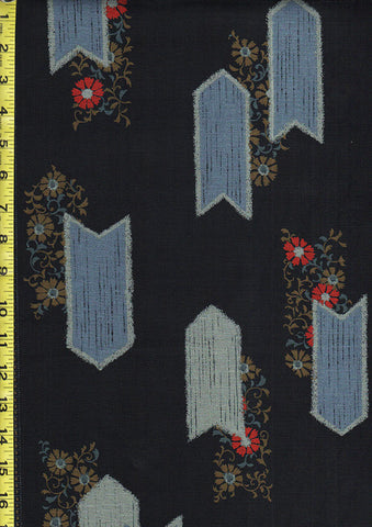 Japanese - Kobayashi Arrows & Flowers - Dark Navy-Indigo