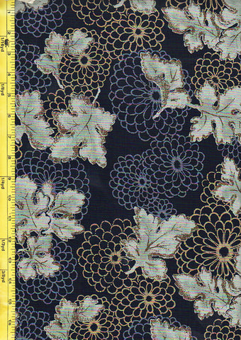 Japanese - Kobayashi Dobby Weave - Stylized Mums & Leaves - Navy